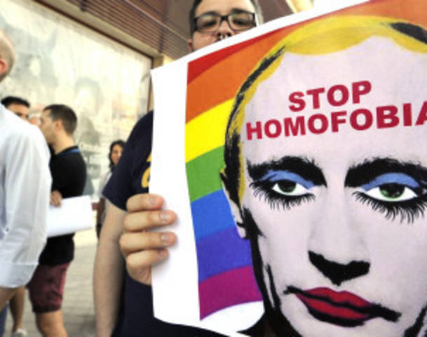 SPAIN-RUSSIA-DEMO-HOMOPHOBIA